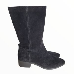 LUCKY BRAND Faux Suede Black Mid-Calf Heeled Boots